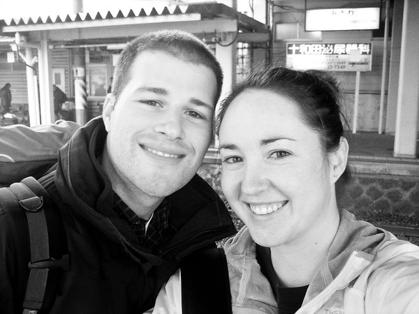 At the Misawa train station getting ready to begin our trip